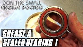 """Ever wonder if sealed bearings can be greased? Follow along as I show you how easy it is to do!Help me buy a new camera! http://patreon.com/donyboy73Follow me on Facebook; https://www.facebook.com/pages/Donybo...Twitter;https://twitter.com/donyboy73Instagram: http://instagram.com/donyboy73/GOOGLE+ https://plus.google.com/u/0/b/1016213...Due to factors beyond the control of DONYBOY73 """"The Small Engine Doctor"""", it cannot guarantee against unauthorized modifications of this information, or improper use of this information.  DONYBOY73 """"The Small Engine Doctor"""" assumes no liability for property damage or injury incurred as a result of any of the information contained in this video. DONYBOY73 """"The Small Engine Doctor"""" recommends safe practices when working with power tools, hand tools, lifting tools, jack stands, electrical equipment, blunt instruments, chemicals, lubricants, or any other tools or equipment seen or implied in this video.  Due to factors beyond the control of DONYBOY73 """"The Small Engine Doctor"""", no information contained in this video shall create any express or implied warranty or guarantee of any particular result.  Any injury, damage or loss that may result from improper use of these tools, equipment, or the information contained in this video is the sole responsibility of the user and not DONYBOY73 """"The Small Engine Doctor"""".#DIY"""