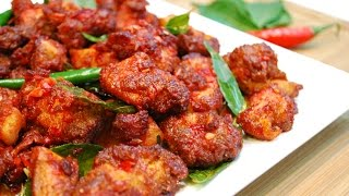 Chicken 65 is a very popular, spicy fried chicken dish originating from South India. Serves: 2-3Ingredients:1 lb Chicken breast1 Tsp Salt1 Tsp Red chilli powder1 Tsp Coriander powder1 Tsp Garam masala1 Tsp Ginger Garlic paste1 Tbsp Lemon JuiceOil for frying1 Tbsp Minced Garlic10 Curry leaves2-3 Green Chillies2 Tbsp Chilli Garlic PastePinch of edible red food colorMusic: YouTube Audio Library: The Bluest StarFTC: This video is not sponsored