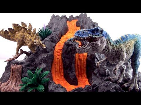 Schleich Giant Volcano T-Rex 42305 - Flowing Lava  Dinosaur toys - Tyrannosaurus Stegosaurus Fossil