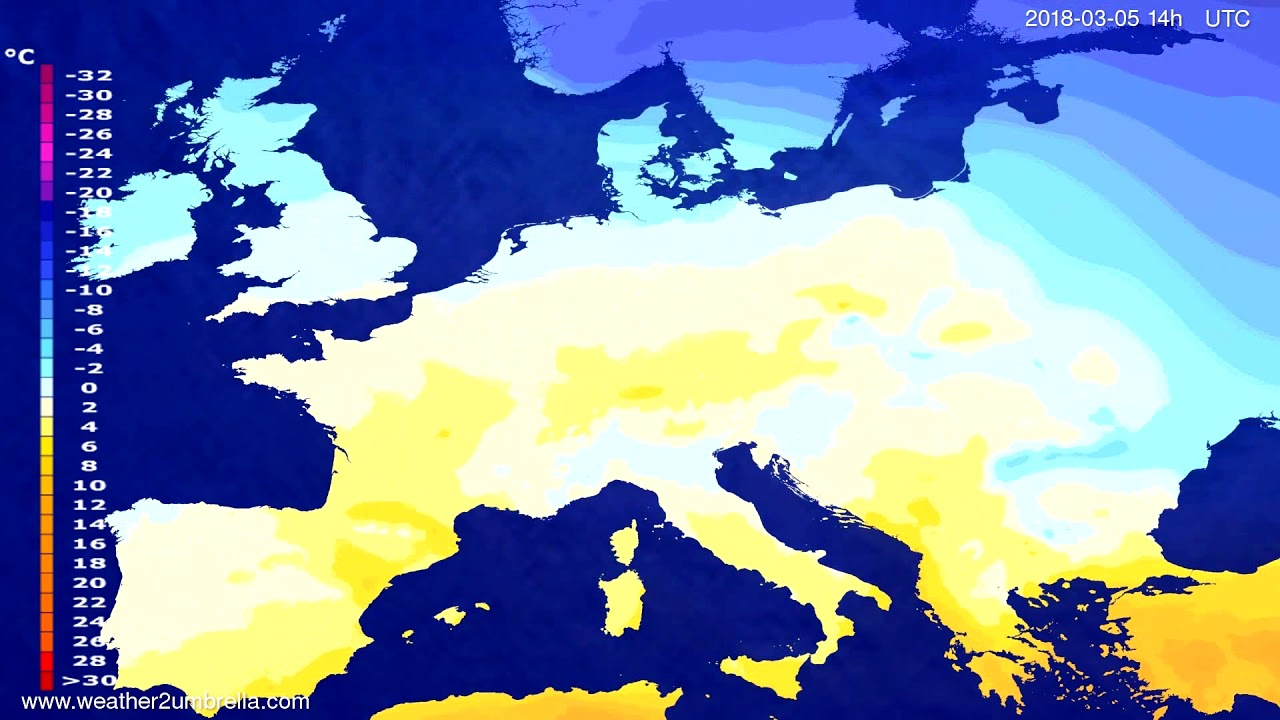 Temperature forecast Europe 2018-03-03