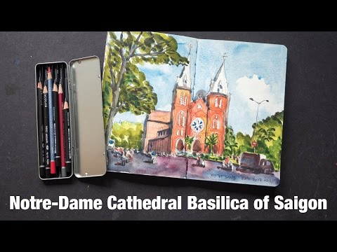 Notre-Dame Cathedral Basilica of Saigon (timelapse) (Sketching HCMC #5)