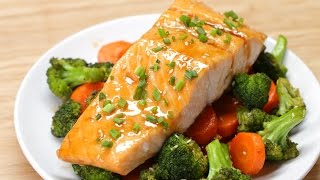 One-Pan Teriyaki Salmon Dinner Serves 2 Ingredients 2 cups broccoli florets 2 cups carrots, sliced 2 tablespoons olive oil 2 ...