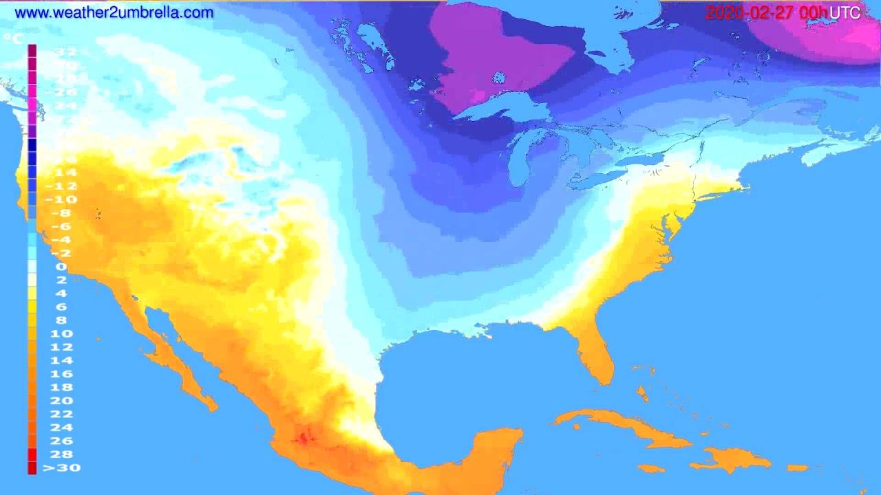 Temperature forecast USA & Canada // modelrun: 00h UTC 2020-02-26