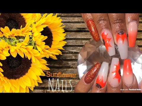 Summer Sunflower Nails  Acrylic Nails Design