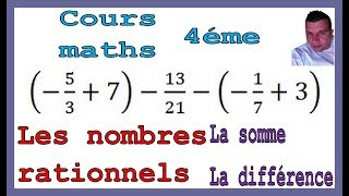 Maths 4ème - Les nombres rationnels Somme et Différence Exercice 34