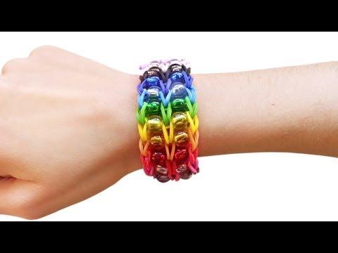 Loom bands V Tutorial braccialetto elastici con perle