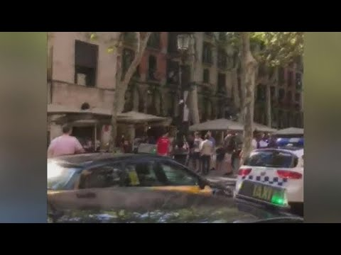 Van plows into crowd in Barcelona