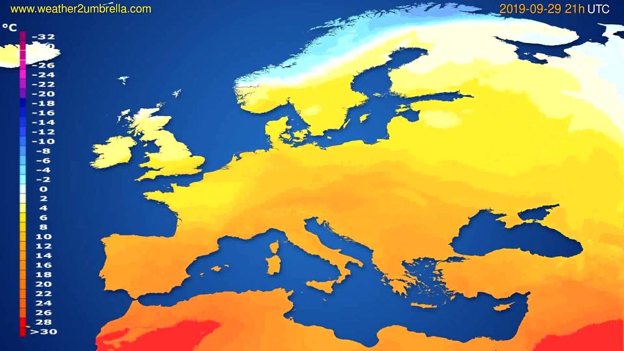 Temperature forecast Europe // modelrun: 12h UTC 2019-09-27