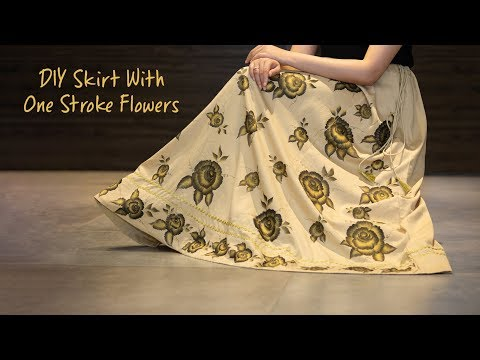 DIY Skirt With One Stroke Flowers