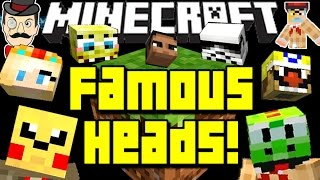 Minecraft FAMOUS HEADS! Obama, Wario, Darth Vader, Spongebob&More in Your World!