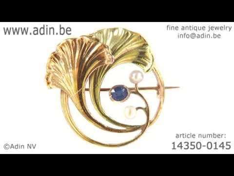 Art Nouveau two tone gold leaf brooch with sapphire and pearls. (Adin reference: 14350-0145)
