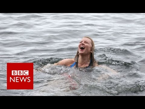 Taking a dip in the Antarctic - BBC News