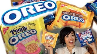 "This round of Oreos includes Firework Oreo cookies filled with popping candy, Peeps, and a breakfast-y delight: Waffles & Syrup.  New videos every Monday, Thursday, and Saturday!Join the Emmy League of Adventuresome Eaters & find me here:Subscribe: http://youtube.com/subscription_center?add_user=emmymadeinjapanTwitter: https://twitter.com/emmymadeinjapanInstagram: http://instagram.com/emmymadeSnapchat: @emmymadeFacebook: https://www.facebook.com/itsemmymadeinjapan/My other channel: emmymade http://bit.ly/1zK04SJIf you'd like to help by contributing closed captions, or subtitles in another language, please follow this link: http://www.youtube.com/timedtext_video?ref=share&v=v9BR9Z_VqHoThis video is NOT sponsored.  Oreo Taste Test Playlist: http://bit.ly/2dszkJfBee Vlogs: http://bit.ly/2qGyaf4Summer Paradise & Sprightly music courtesy of audionetwork.com and royalty-free Sprightly from iMovie.  If you're reading this, you know what's what. Comment: ""What about Playdough flavored Oreos?"" below. :)"