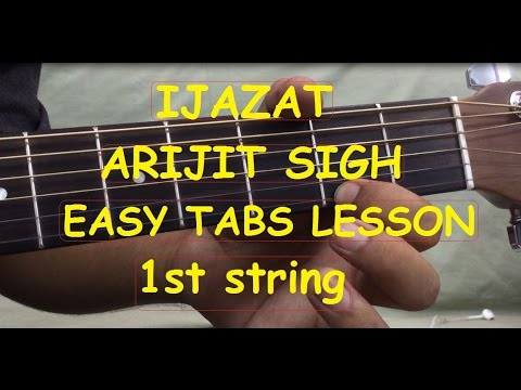 IJAZAT Guitar intro tabs tutorial on 1st string in Hindi|Arijit singh|One night stand