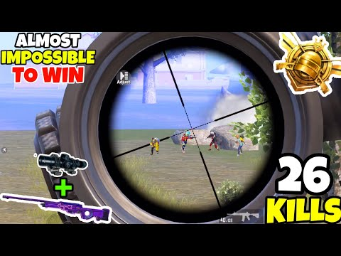 This Match Was IMPOSSIBLE To Win Without The AWM + 8x Scope in PUBG Mobile •(26 KILLS) • PUBGM HINDI