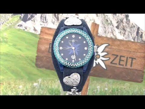 Edelzeit Trachtenuhr Damenuhr Dirndl Trachten Uhr EZDB05 ENZIAN blau