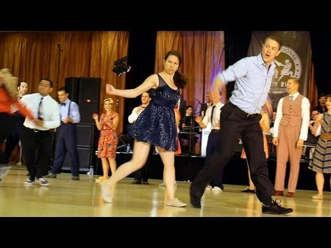 Hop - Top Lindy Hop dancers from around the world compete to live music by Jonathan Stout and his Campus Five during in the International Lindy Hop Championships i...