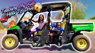 Teaching My Kids How To Drive Using My John Deer!