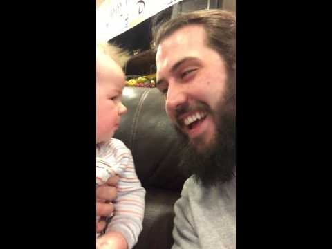 Baby hears helium altered voice for the first time... (00:10)