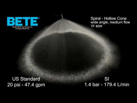 TF40W - Wide Angle, Medium Flow Hollow Cone Spiral Spray Pattern Video