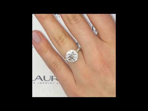1.96 ct Round Diamond Halo Cathedral Engagement Ring