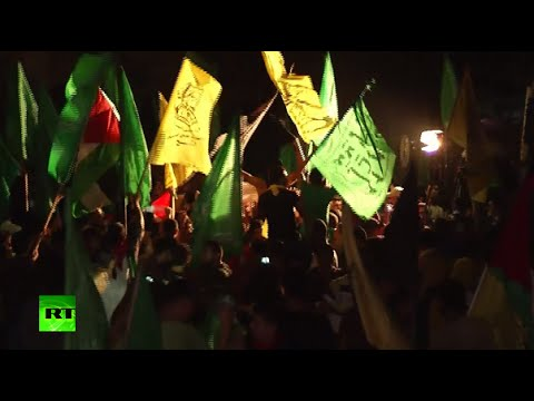 Thousands of Palestinians flood streets to celebrate Gaza ce