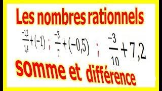 Maths 4ème - Les nombres rationnels Somme et Différence Exercice 9