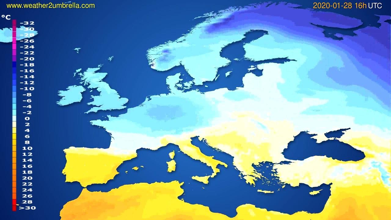 Temperature forecast Europe // modelrun: 12h UTC 2020-01-27
