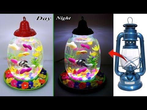 ????????? ????? ????? ??????????????? || How to Make Aquarium in Hurricane Chimney simple method DIY_Akvárium