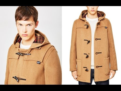Gloverall Mid Length Check Duffle Coat Camel