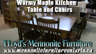 Mennonite Wormy Maple Kitchen Table & Chairs