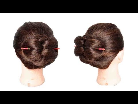 Curly hairstyles - Easiest 1 min Chinese Bun Stick Hairstyle  Quick Bun hairstyle  Juda style  s for style