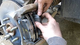 Replacing the front brake pads and rotors.  This video should apply to mosts Chevy HHR and Cobalt vehicles but the concept is similar among most vehicles. Due to shaking issues that I believe are the brake rotors loading up with pad material I have decided to switch to ceramic pads.   I am using Autozone Duralast Gold C-Max pads which include a hardware kit, backing on the pads, and caliper pin grease packet.The tools needed are pretty simple...- Breaker bar (a large ratchet might work instead)- 14 mm socket- 15 mm socket- 19 mm socket (for the lug nuts)Optional, but helpful...- Flat head screwdriver- Hammer- 15 mm wrench- 14 mm wrench- Torque wrench (to tighten to bolts to manufacturer specifications)I'm using only basic hand tools and the jack that came with the car for reasons of demonstration.  This is not a difficult task to perform.I am not a professional mechanic, just a guy who works on his own cars at home.  The procedures shown in this video may not be correct or safe, always consult a professional and follow manufacturers guidelines and specifications.  Use common sense, only you are responsible for your own safety. Basic Steps:1. Raise and secure vehicle, remove wheel.2. Remove the two 14mm caliper bolts, Remove caliper3. Remove two 15mm caliper bracket bolts, remove bracket4. Remove rotor, install new rotor5. Reinstall caliper bracket & two 15mm bolts6. Install new brake pads7. Compress piston, reinstall caliper & two 14mm bolts8. Reinstall wheel, pump brake pedal to seat piston