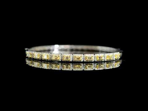 Lady's 18k White/Yellow Gold Fancy Light Yellow Diamond Bangle