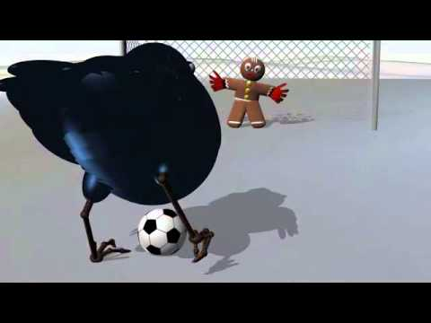 The bird plays football with the Gingerbread Man.