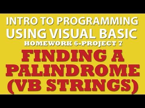 VB.net (Ex 6-pp7): Palindrome (VB.net String Manipulations)