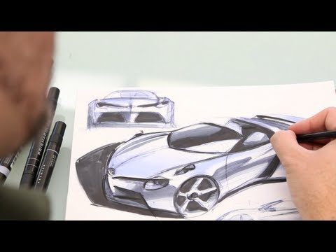 design - Watch professional car designer Ian Cartabiano create and destroy his ultimate sports car in five minutes from his studio located at Toyota's Calty Design Re...