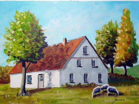 Malen mit Acryl: Bauernhaus mit Schafen (Teil 1/3)