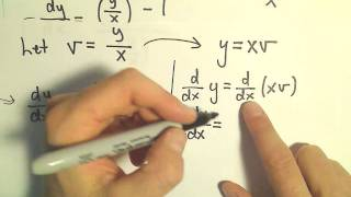 Change of Variables / Homogeneous Differential Equation - Example 1