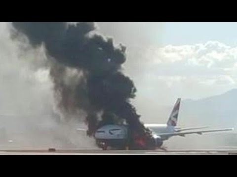 14 injured after British Airways plane catches fire on Las Vegas runway