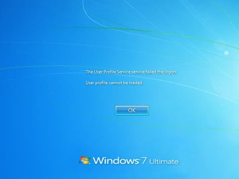 cannot - User profile service failed the logon User profile cannot be loaded When you try and logon to a Windows 7 or other Windows based computers like Vista, window...