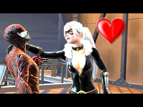 Black Cat Kisses Carnage - Spider Man Suit Mod Web Of  Shadow