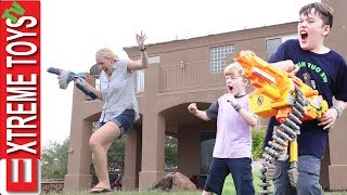 Babysitter Part 2! Ethan And Cole Nerf Wildness with Aunt Jenna Remastered!