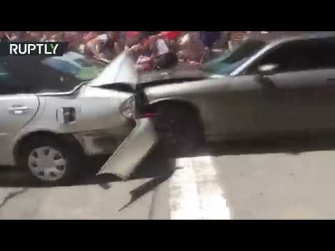 Moment car ploughs into protesters at Charlottesville rally (EXTREMELY GRAPHIC)