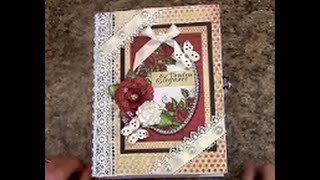 """Free step by step tutorial on how to make this 7"""" x 9"""" with 3-1/2"""" spine mini album using the Heartfelt Creations paper collection - for beginners or seasone..."""
