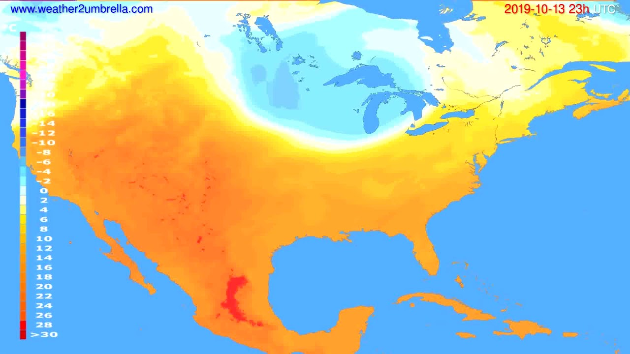 Temperature forecast USA & Canada // modelrun: 12h UTC 2019-10-10