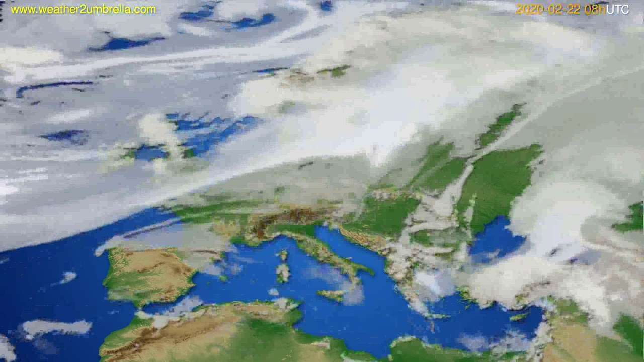 Cloud forecast Europe // modelrun: 12h UTC 2020-02-21
