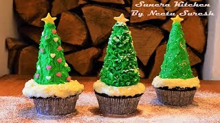 Christmas Tree Cupcakes | Eggless Chocolate Cup Cakes | Neetu Suresh