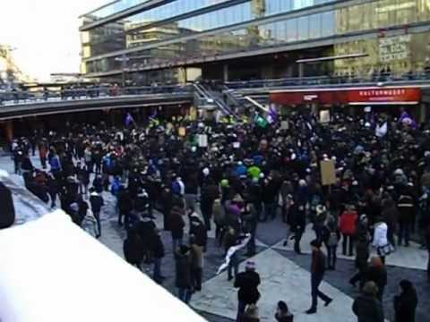 Swedish Pirate Party - Swedish Pirate Party demonstration against ACTA, at Sergels Torg in Stockholm, Sweden 2012-02-04, part 1.