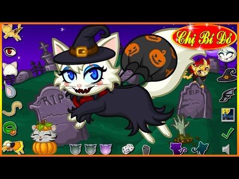 Chị bí đỏ hóa trang cho mèo con ngày lễ Halloween
